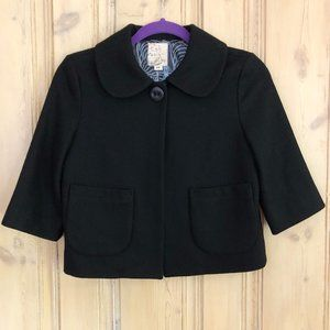 ANTHRO Tulle Black Wool Cropped Coat XS
